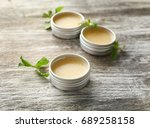 containers with lemon balm... | Shutterstock . vector #689258158