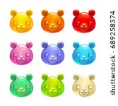 cute jelly beaver faces. vector ...