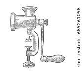 classic manual meat grinder.... | Shutterstock .eps vector #689261098
