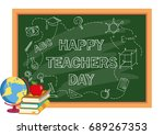 happy teacher day greeting card ... | Shutterstock .eps vector #689267353