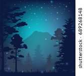 night in the forest vector... | Shutterstock .eps vector #689268148
