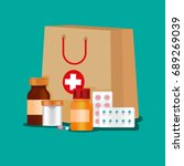 medicines first aid kit of... | Shutterstock .eps vector #689269039