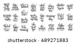 set of 25 hand lettering... | Shutterstock . vector #689271883