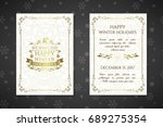 christmas posters with golden... | Shutterstock .eps vector #689275354