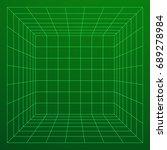 wireframe mesh cube room....   Shutterstock .eps vector #689278984