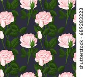 beautiful pink roses seamless... | Shutterstock .eps vector #689283223