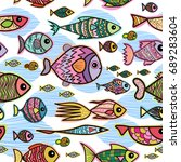 vector seamless pattern with... | Shutterstock .eps vector #689283604
