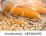 close up yellow dried corn for... | Shutterstock . vector #689286490