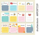 unusual cute calendar for 2018. ... | Shutterstock .eps vector #689287219