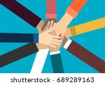 young people putting their... | Shutterstock .eps vector #689289163