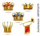 royal ceremonial gold crowns... | Shutterstock .eps vector #689291674