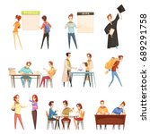 set of students near timetable  ... | Shutterstock .eps vector #689291758
