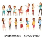teenager girls characters with... | Shutterstock .eps vector #689291980