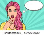 surprised girl  vector... | Shutterstock .eps vector #689293030