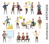 business meeting icons set with ... | Shutterstock .eps vector #689293606