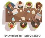 business meeting top view... | Shutterstock .eps vector #689293690
