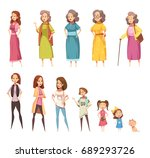 women generation flat colored... | Shutterstock .eps vector #689293726