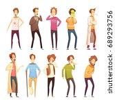 colored sickness man retro... | Shutterstock .eps vector #689293756