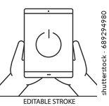 hands holding tablet computer... | Shutterstock .eps vector #689294980