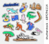 travel to australia doodle.... | Shutterstock .eps vector #689296114