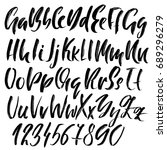 hand drawn dry brush font.... | Shutterstock .eps vector #689296279