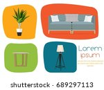 interior. furniture for the... | Shutterstock .eps vector #689297113