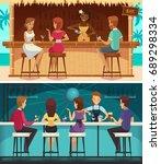 beach bar and evening bar...   Shutterstock .eps vector #689298334