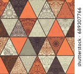 seamless colorful patchwork... | Shutterstock .eps vector #689307766