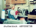 professional senior tailor... | Shutterstock . vector #689308738