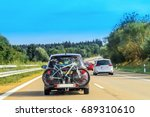 car with bicycles in the... | Shutterstock . vector #689310610