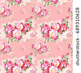 seamless watercolor pink roses... | Shutterstock . vector #689310628
