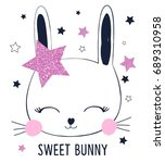 sweet bunny with pink glitter ... | Shutterstock .eps vector #689310958
