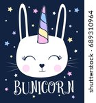 unicorn bunny illustration... | Shutterstock .eps vector #689310964