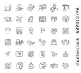 parcel delivery service icon set | Shutterstock .eps vector #689312746