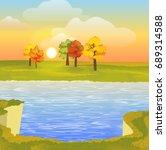 sandy break above the lake.... | Shutterstock .eps vector #689314588