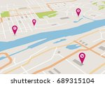 vector flat abstract city map... | Shutterstock .eps vector #689315104