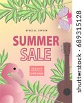 summer sale background layout... | Shutterstock .eps vector #689315128