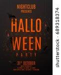 dark party flyer for halloween. ...   Shutterstock .eps vector #689318374