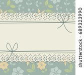 decorative lace frame with bows ... | Shutterstock .eps vector #689323990