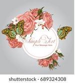 vector roses frame template   Shutterstock .eps vector #689324308