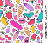bright and colorful pattern... | Shutterstock .eps vector #689325694