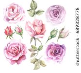 set of watercolor roses | Shutterstock . vector #689328778