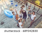 top view of a group of young... | Shutterstock . vector #689342830