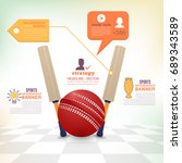 cricket ball and bat... | Shutterstock .eps vector #689343589
