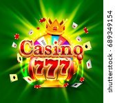 casino 777 big win slots and... | Shutterstock .eps vector #689349154