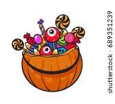 halloween pumpkin basket with... | Shutterstock .eps vector #689351239
