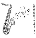 saxophone playing melody. wind... | Shutterstock .eps vector #689358388