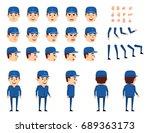 auto mechanic  workman in blue... | Shutterstock .eps vector #689363173