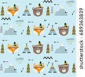Stock vector vector scandinavian pattern animals fox bear wigwam mountains ascetic 689363839