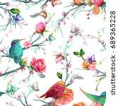 vintage seamless pattern  bird  ... | Shutterstock .eps vector #689365228